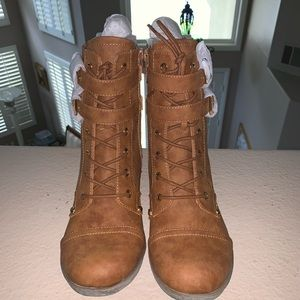 G by Guess Brown Faux Suede Lace Up Moto Boots